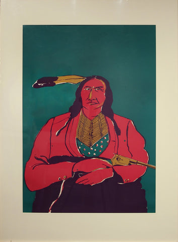 "Fritz Scholder (American, 1937-2005), ""Untitled (Native American Male Figure)"", lithograph in colors"