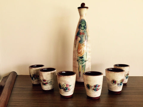 Polia Pillin Hand Painted Ceramic Decanter and Six Cups, signed, ca. 3rd quarter 20th century