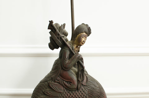Large Chinese Wood Carving of He Xiangu, ca. 1900, mounted as a table lamp