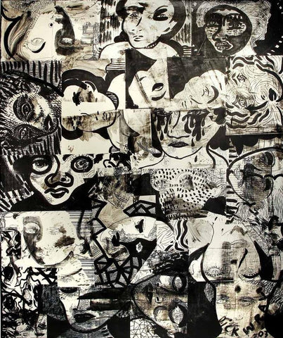 Dick Wray (American, 1933-2011), Untitled, 2003, mixed media on canvas, signed
