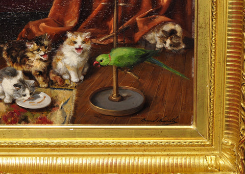 Alfred-Arthur Brunel de Neuville (French, active 1879-1907), City Kittens, oil on panel, signed