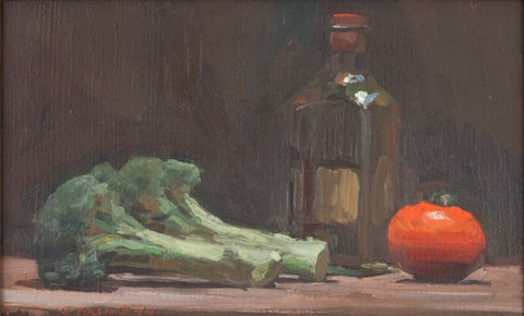 Jacob Collins (American, b. 1964), Broccoli, Tomato, Oil, 1994, oil on canvas, signed