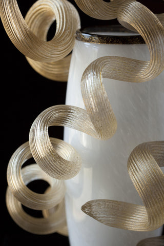 Dale Chihuly (American, b. 1941), White and Black Venetian with Gold Coils, 2008, blown and applied glass, signed