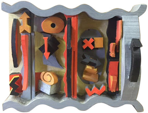 Florence Putterman (American, b. 1927), Deep Curves Ahead, mixed media assemblage, signed