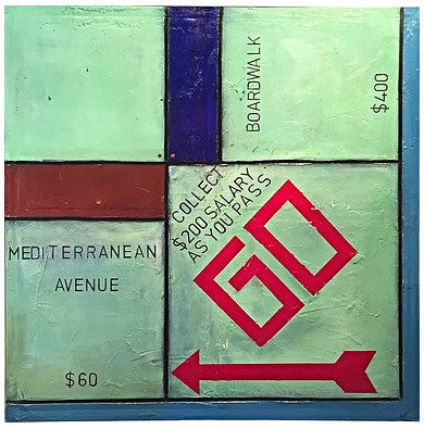 Guy Stanley Philoche (Haitian, b. 1956), Go Monopoly with Shoe, 2015, mixed media, acrylic on canvas, signed