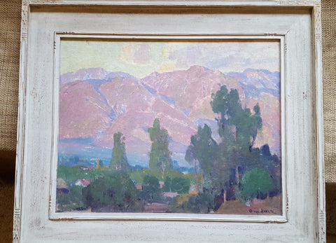 Orrin A. White (American, 1883-1969), Landscape with mountains, oil on board, signed