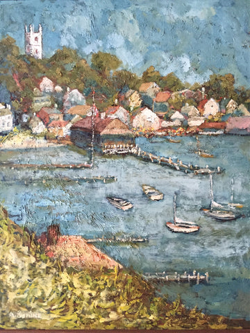A. Bonine (American School, 20th Century), Martha's Vineyard Edgartown Harbor, oil on panel, signed