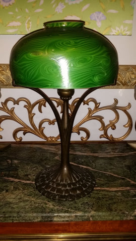 Tiffany Studios Patinated Bronze Table Lamp Base, American, 20th century, no. 445, with an unmarked green Damascene glass shade