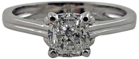 18K White Gold Diamond Engagement Ring, GIA certified, contemporary