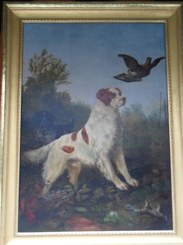 William (Jacob) Hays Snr (American, 1830-1875), Dogs hunting fowl, 1860, oil on canvas, signed and dated