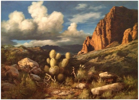 Segundo Huertas-Aguilar (Argentinian, 1923-2010), Mountainous desert landscape, oil on canvas, ca. early 21st century