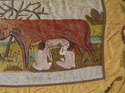 Embroidered Silk Tapestry depicting Romulus and Remus, American, ca. 1906