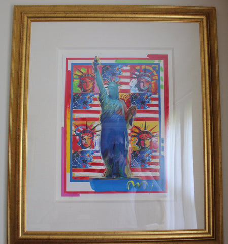 Peter Max (American, b. 1937), God Bless America - With Five Liberties, 2001, mixed media and acrylic on paper, signed