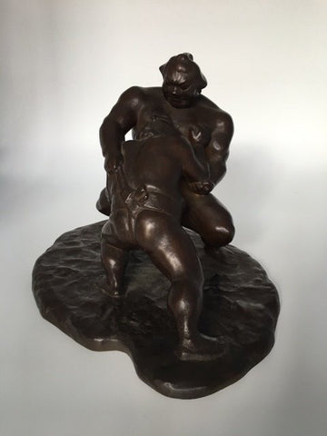 Japanese Figural Group of Two Grappling Sumo Wrestlers, patinated bronze, late Meiji (1868-1912) period
