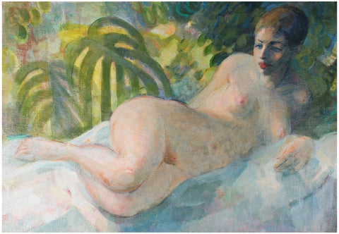 David Landis (American, 1918-1983), Reclining Nude, oil on canvas, signed, mid 20th century