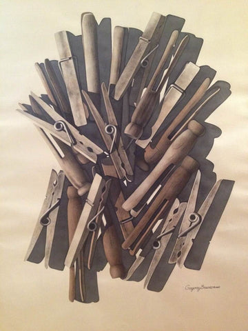 Gregory S. Bruno (American, 1926-2015), Clothespins, watercolor on paper, signed