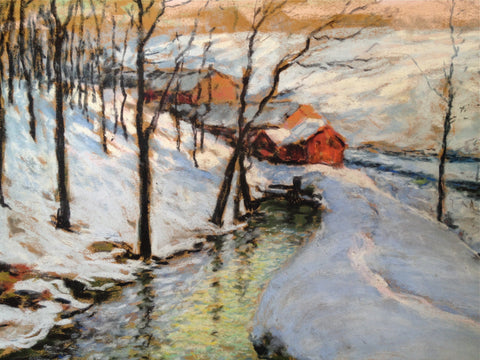Frederick Wagner (American, 1864-1940), Winter landscape, oil pastel on paper, signed