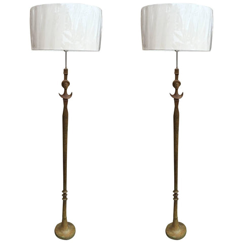Pair of Italian Bronze Floor Lamps, after Giacometti, ca. 1950