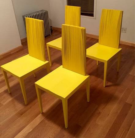 "Set of Four ""Jenette"" Yellow Dining Chairs, designed ca. 1999 by Humberto & Fernando Campana, for Edra s.p.A., Italy, produced from 2005"