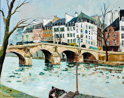 "Jacques Bouyssou (French, 1926-1997), ""Le Pont Marie"", oil on canvas, signed"