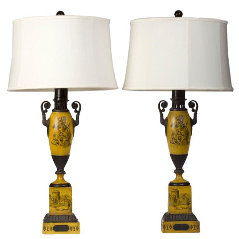 Pair of Neoclassical Style Tole Table Lamps, ca. last quarter 20th century