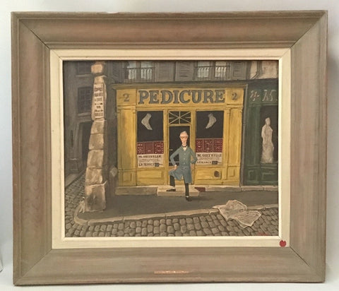 Robert Paul Sivard (American, 1914-1990), Pedicure, oil on board, signed