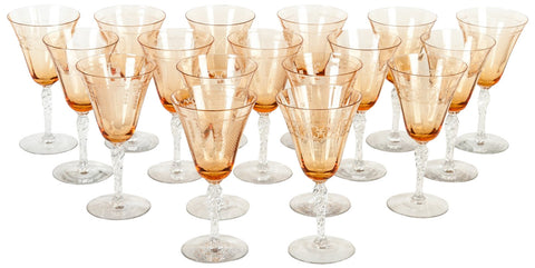 Set of Sixteen Amber Etched Crystal Wine Glasses, ca. 1970