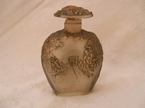 T. Jones Frosted Glass Scent Bottle: Gai Paris designed by Julien Viard, ca. 1912