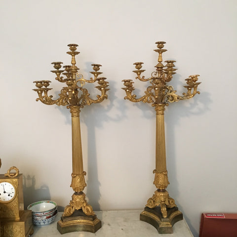 Pair of French Gilt-Bronze Ten-Light Candelabra, probably Charles X, early 19th century