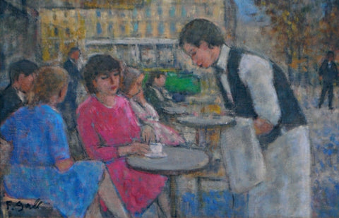 "François Gall (French, 1912-1987), ""A la Terrasse du Cafe"", ca. 1960, oil on canvas, signed"