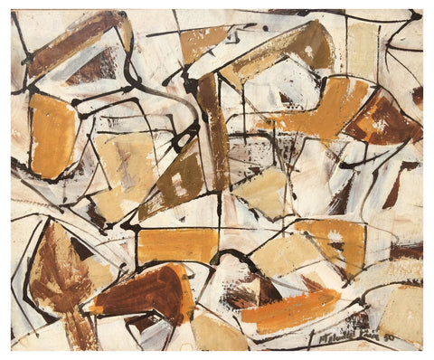 Melville Price (American, 1920-1970), Untitled (Maze Series), 1950, mixed media on paper, signed