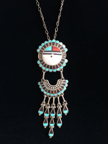 Zuni Coral, Jet, and Turquoise, and Mother of Pearl Jewelry Set, Roger and Lela Cellicion, ca. 1960s
