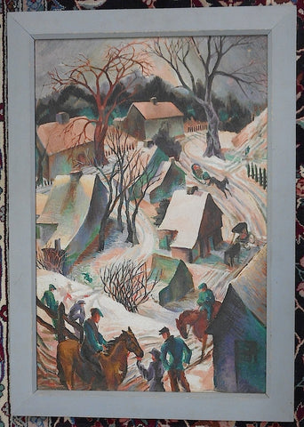 Gladys Kelley Fitsch (American, 1986-1971), Winter Village Scene, oil on canvas, signed