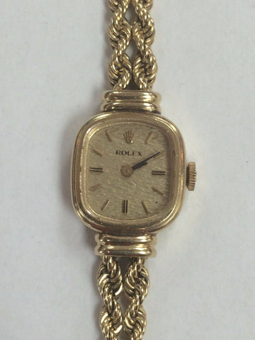 Ladies 14K Yellow Gold Rolex Dress Wristwatch with Double Strand Twisted Rope Bracelet, Geneva, Switzerland, ca. 1958