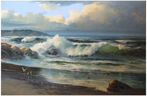 Beverly Jamison Carrick (American,1930-2012), Pacific Ocean Shore, California, oil on canvas, signed