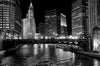 "Jeff and Jason Lewis (American, contemporary), ""Black & White Wrigley Building-Chicago River"", 2015, photograph"