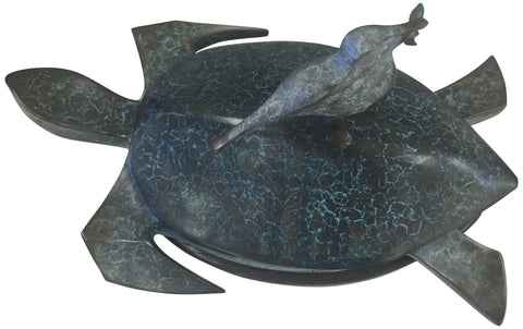 "Craig Lehmann (American, 20th Century), ""Turtle on Wheels"", patinated bronze sculpture on wooden base, ed. 14"