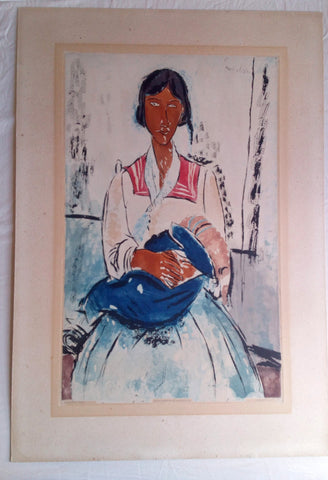 "After Amedeo Modigliani (Italian, 1884-1920), by Jacques Villon, ""L'Italienne"", aquatint in colors, 1927 (Ginestet/Pouillon 650)"
