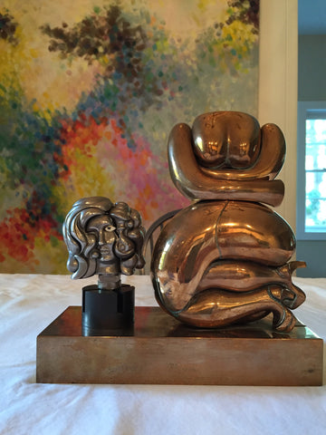 "Miguel Berrocal (Spanish, 1933-2006), ""La Totoche"" and ""Portrait de Michele"", two works, bronze and brass, signed"