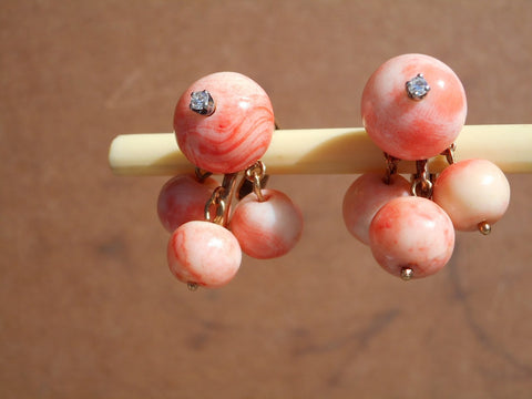 Pair of 14K White and Yellow Gold, Coral and Diamond Cluster Earrings, ca. 1950s
