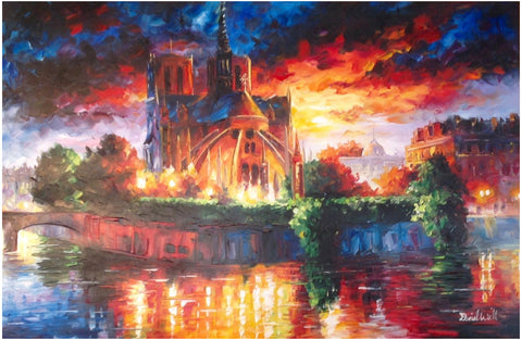 "Daniel Wall (American, b. 1956), ""Notre Dame Cathedral at Twilight II"", 2010, oil on canvas, signed"