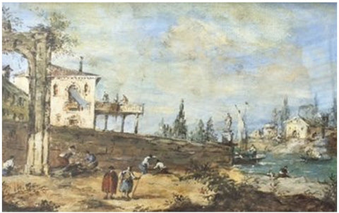 Manner of Francesco Guardi (Italian, 1712-1793), Waterfront scene, watercolor, ca. late 18th/early 19th century