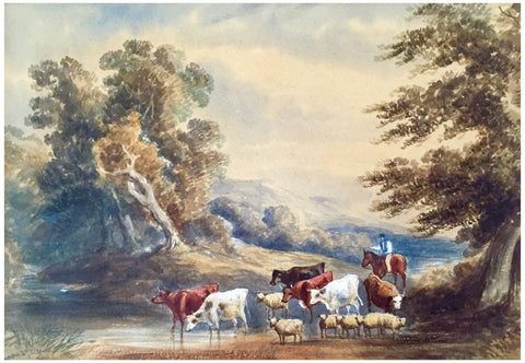 David Cox the Younger (English, 1809-1885), English Landscape with Cattle, watercolor, signed