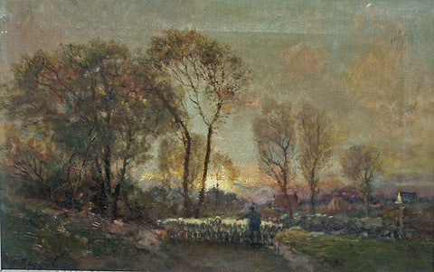 Charles Appel (American, 1857-1928), Shepherd's Lane, oil on canvas, signed