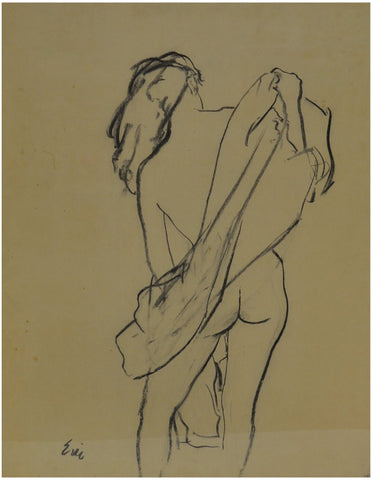 Eric (Carl Erickson) (American, 1891-1958), Untitled (sketch of female nude), crayon on paper, signed