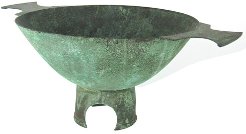 American Copper Quaich-Form Centerpiece Bowl with Verdigris Patina, Marie Zimmermann (1879-1972), ca. early 1920s