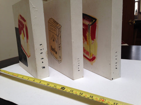 Anthony Lister (Australian, b. 1980), Man Man/Cigarette Boxes (triptych), 2010, mixed media on wood, signed and dated