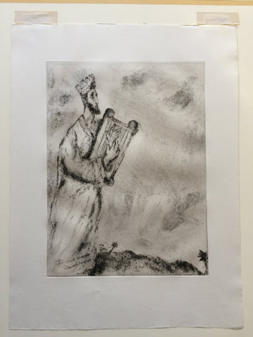 "Marc Chagall (Belorussian/French, 1887-1985), David, having Learned of the Death of Jonathan...Sings a Funeral Dirge, plate 66 from ""La Bible,"" etching, 1931-39, ed. 250"
