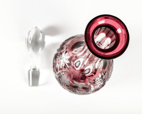 French Cranberry Cut-Class Decanter Set, manufactured by Baccarat, ca. 1900