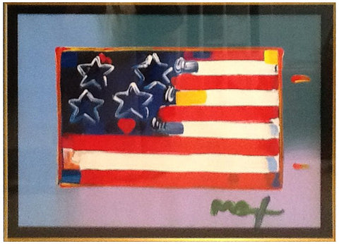 "Peter Max (American, b. 1937), ""Heart in Flag"", 2011, mixed media, signed"